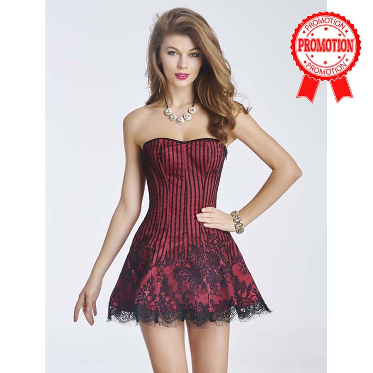 Gothic Sexy Red Strapless Stripe Lace Corset Dress N11196
