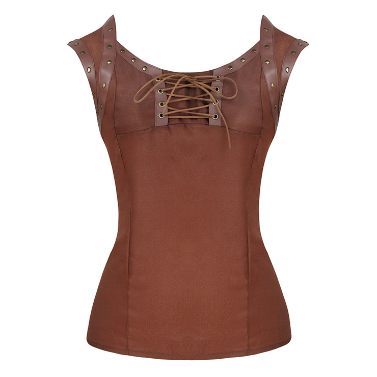 Punk Rivet PU Leather Lace-up Short Sleeve Square Collar Crepe Blouse Top N18949
