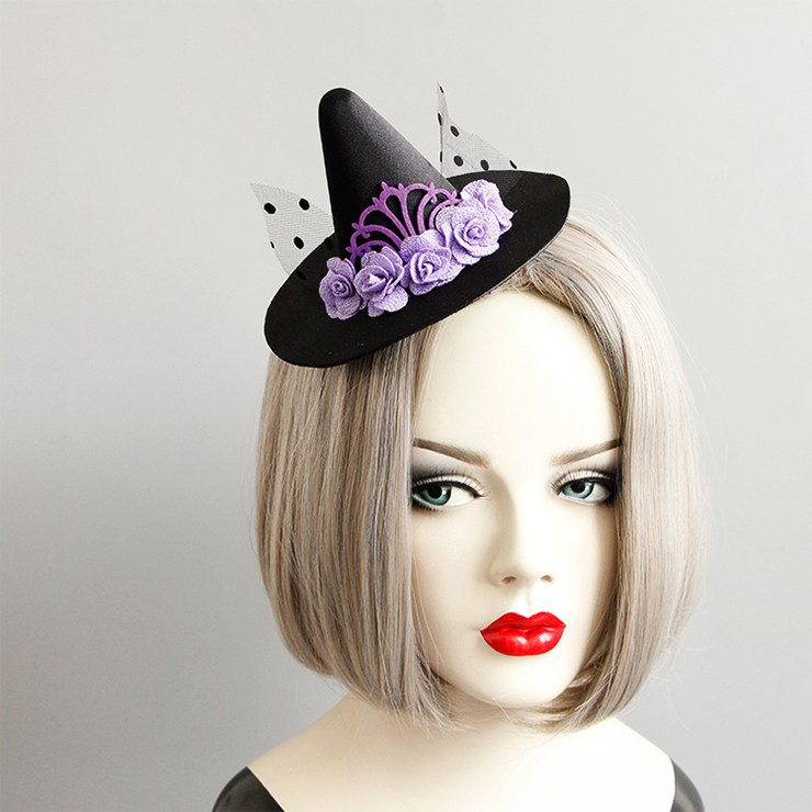 Gothic Purple Roses and Mesh Witch Pointed Hat Fascinator Party Hair Clip Hairpin Accessory J18801