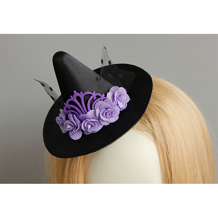 Retro Fancy Fascinator Pointed Hat Hair Clip, Party Hairpin, Fashion Ball Hair Accessory, Fancy Victorian Style Fascinator Hair Clip, Vintage Mesh Fascinator Hairpin for Women, Gothic Style Hair Clip, Halloween Party Hairclip, #J18801