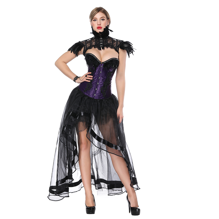 316afa33ed717 Victorian Gothic Purple Satin Feather Overbust Corset with High Low Skirt  Set N18222