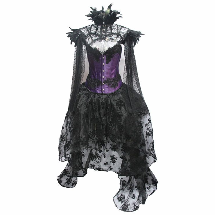 Retro Overbust Corset Skirt Set, Sexy Gothic Black Burlesque Halloween Vampire Corset Skirt Set, Gothic Choker Corset Costume, Gothic Halloween Costume, Steampunk Corset for Women, Steel Boned BodyShaper Corset, Sexy Overbust Corset, #N19602