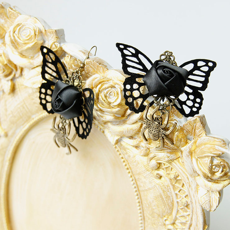 Victorian Gothic Black Butterfly and Rose with Bronze Metal Spider Pendant Earrings J21466