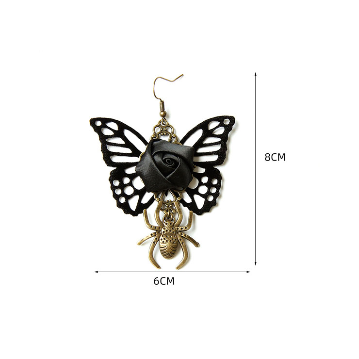 Retro Black Butterfly and Rose Earrings, Gothic Style Earrings, Fashion Black Rose Earrings for Women, Vintage Butterfly Earrings, Casual Earrings, Victorian Gothic Black Pendant Earrings, Fashion Earrings, #J21466