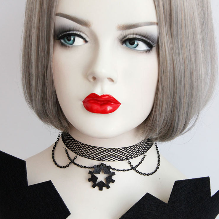 Black Gothic Vintage Netted Hanging Chain Gear Choker Necklace J17379