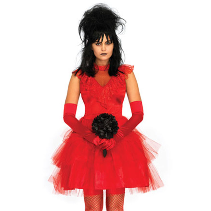 Gothic Red Vampire Multi-layered Floral Lace Mini Wedding Dress Adult Ghost Bride Costume N19195
