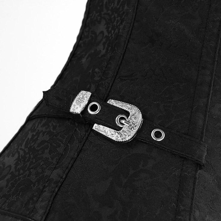 Vested Brocade Gothic Overbust Corset, Steel Boned Corset, Steampunk Corset Vest for Women, Gothic Black Strap Overbust Corset, #N13089