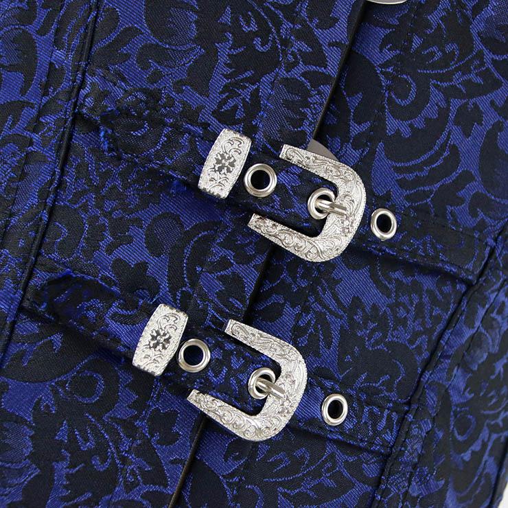 Vested Brocade Gothic Overbust Corset, Steel Boned Corset, Steampunk Corset Vest for Women, Gothic Black Strap Overbust Corset, #N13091