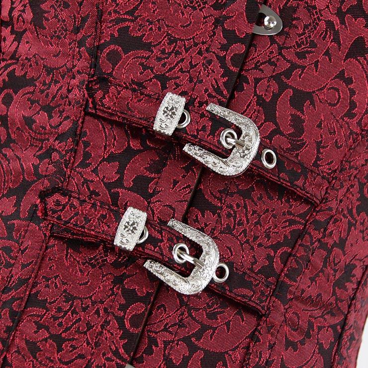 Vested Brocade Gothic Overbust Corset, Steel Boned Corset, Steampunk Corset Vest for Women, Gothic Black Strap Overbust Corset, #N13090