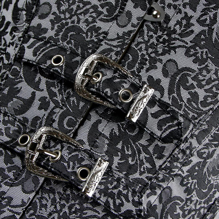 Vested Brocade Gothic Overbust Corset, Steel Boned Corset plus size, Steampunk Corset Vest for Women, Vintage Retro Overbust Corset, #N11458
