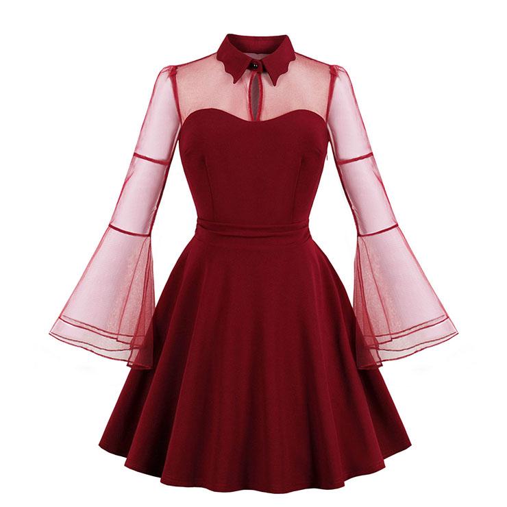 Sexy Gothic Wine Red See-through Mesh Splicing Flare Sleeve Vampire High Waist Midi Dress N18644