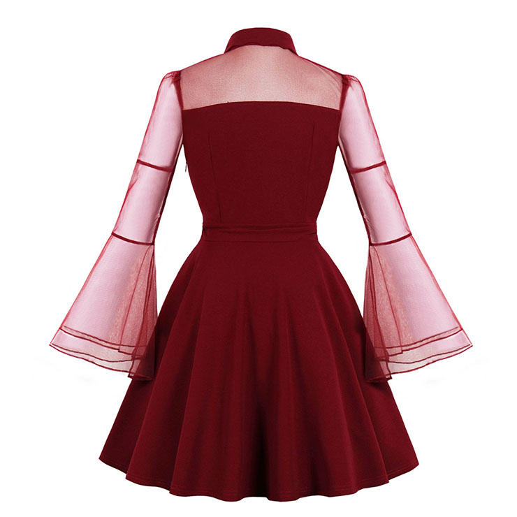 Vampire Wine Red Dress, Gothic Dresses for Women, Cocktail Party Dress, Halloween Party Dress, Vintage Flare Sleeve Swing Dresses, A-line Cocktail Party Swing Dresses, Halloween Vampire Dress, V Neck Vintage Day Dress, #N18644