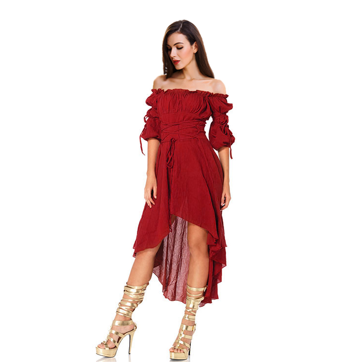 Sexy Gothic Wine Red Ruffled Off-shoulder Vampire High Waist High-low Dress N18687