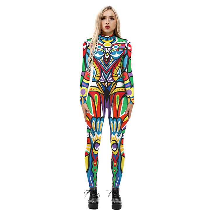 New Product Graffiti 3D Printed High Neck Long Bodycon Jumpsuit Halloween Costume N21254