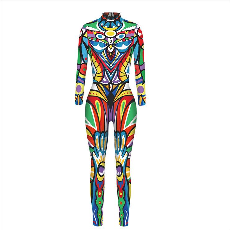 Graffiti Printed Jumpsuit, Halloween Graffiti High Neck Slim Fit Bodysuit, Halloween Bodycon Jumpsuit, Long Sleeve High Neck Jumpsuit, Halloween Graffiti Jumpsuit for Women, #N21254