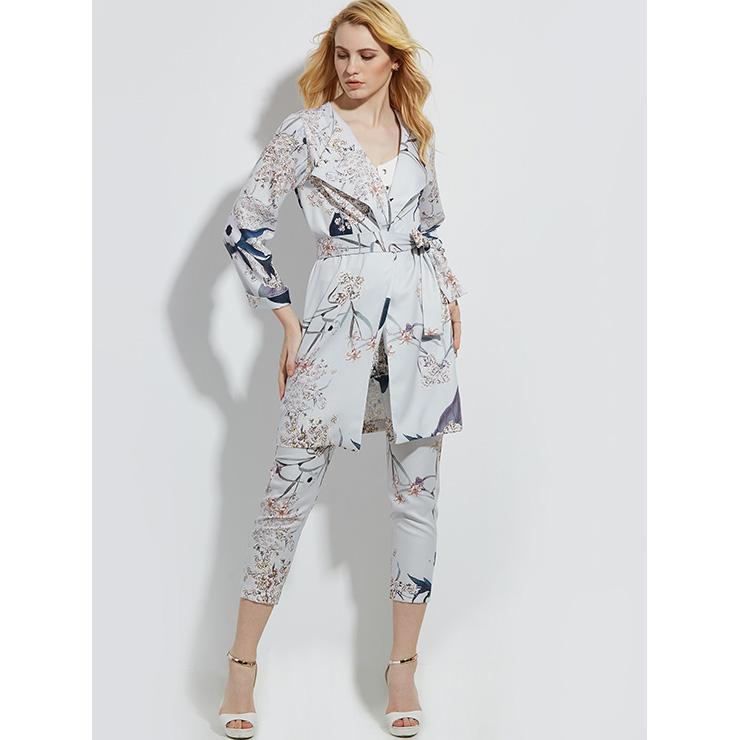 Women's Gray Flower Print Long Sleeve Lapel Coat with Belt  N14383