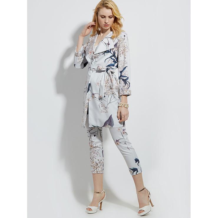 Flower Print Gray Overcoat , Women