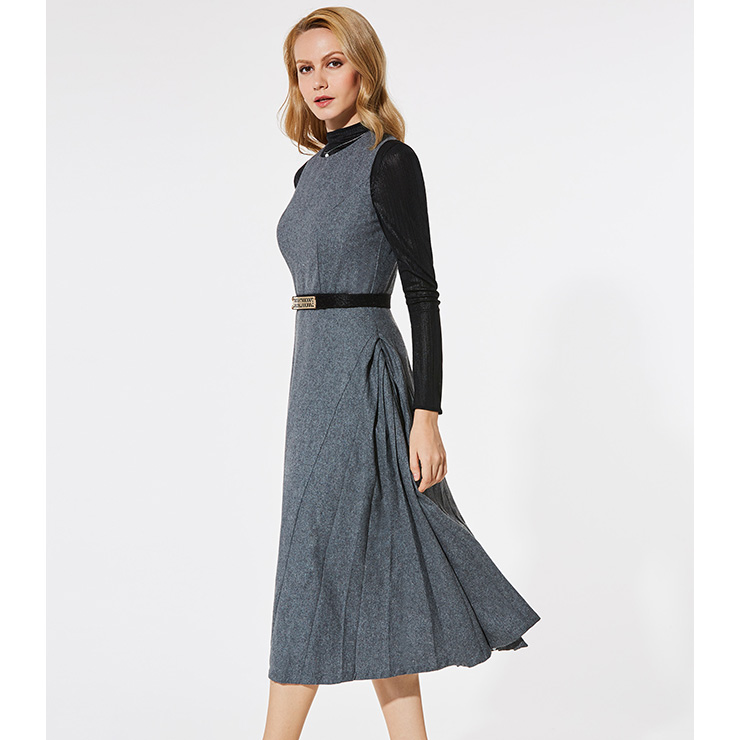 Women's Gray Round Neck Sleeveless Tank Midi Dress N15600
