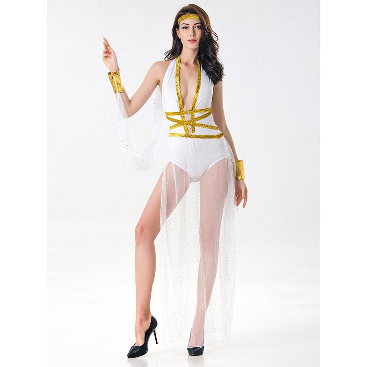 White Goddess Costume, Greek Goddess Halloween Costume, Greek Goddess of Beauty Adult Costume, Greek Goddess Cosplay Costume, Sanitess Adult Costume, #N17118