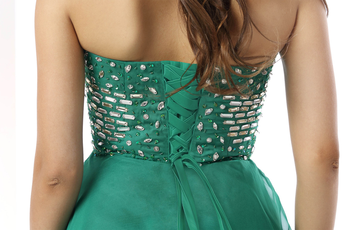 d73e8f858 2018 Fashion Green Beading A-line Sweetheart Natural Waist Chiffon ...