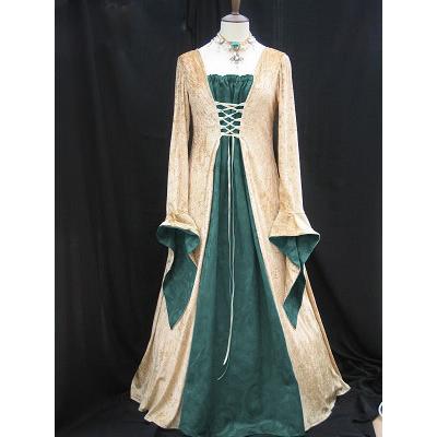Green Satin gold velvet medieval dress N6764