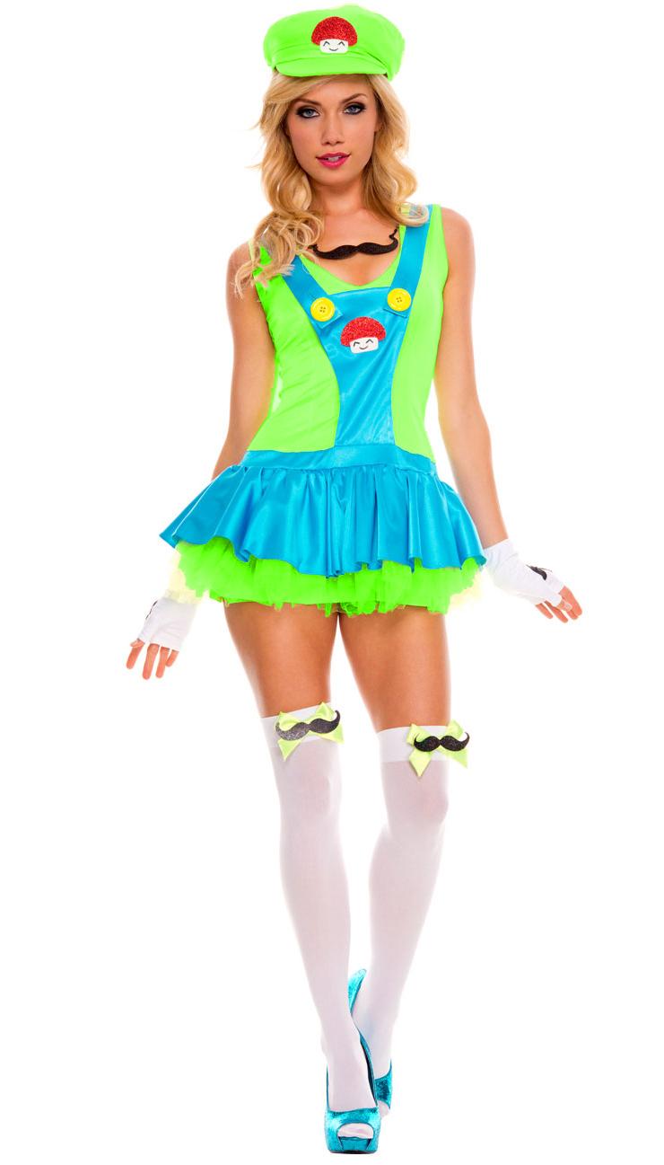 Green Playful Plumber Costume, Green Italian Plumber Costume, Video Game Plumber, #N6301