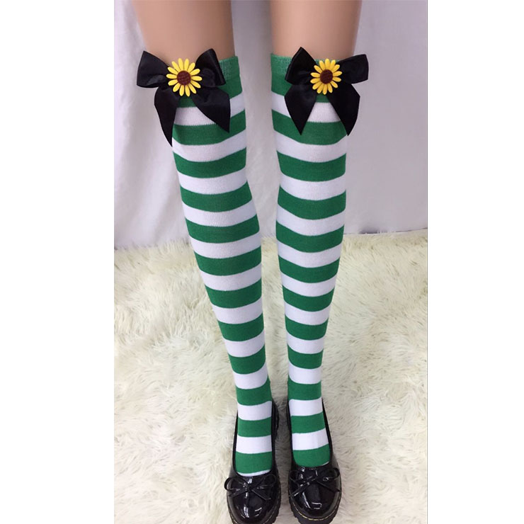 Lovely Green-white Strips Black Bowknot with Sunflower Maid Cosplay Stockings HG18556