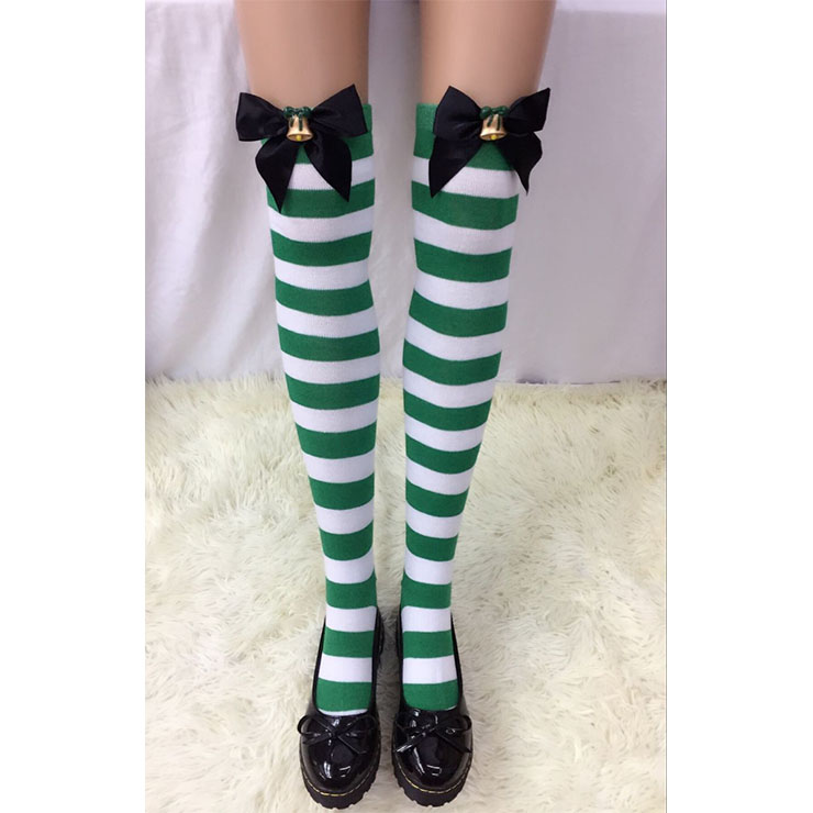 Christmas Green-white Strips Black Bowknot with Bell Maid Cosplay Stockings HG18546