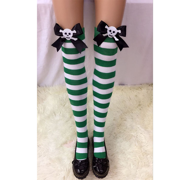 Halloween Green-white Strips Black Bowknot with Skeleton Maid Cosplay Stockings HG18561