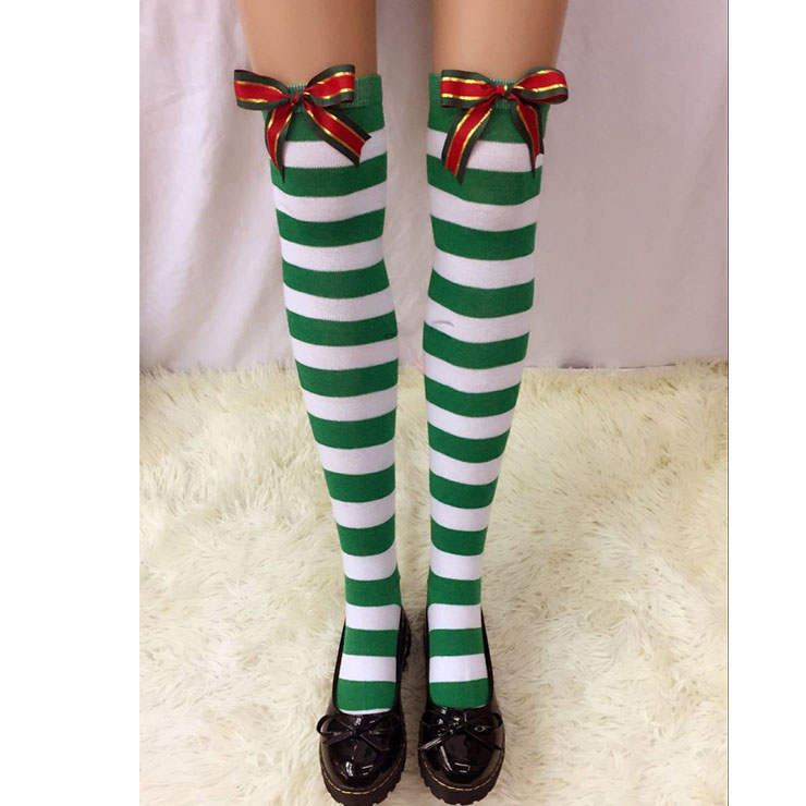 Christmas Green-white Strips Christmas Color Bowknot Maid Cosplay Stockings HG18547