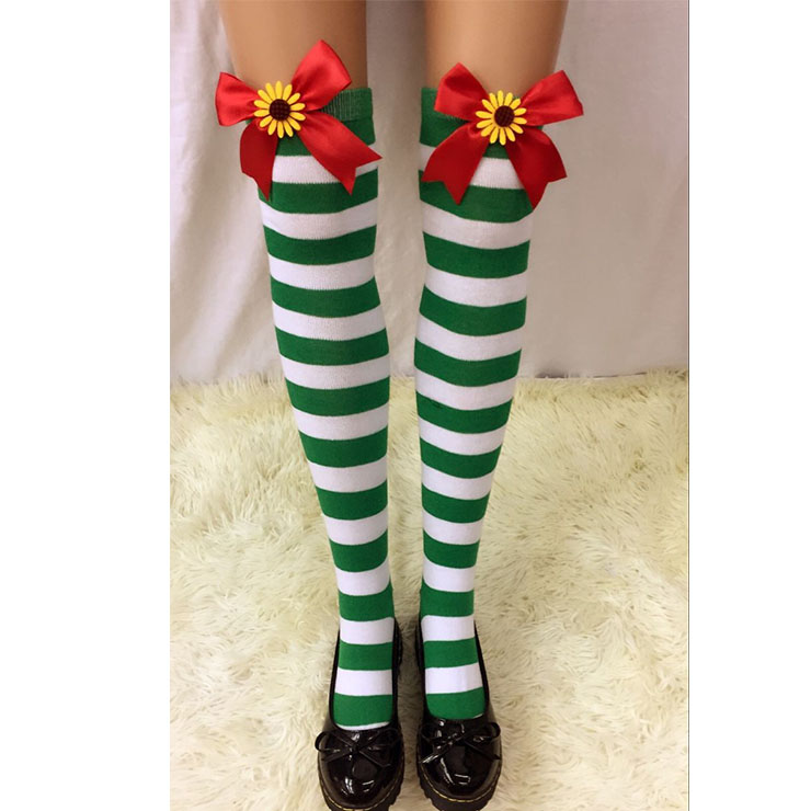 Lovely Stockings, Sexy Thigh Highs Stockings, Green-white Strips Cosplay Stockings, Red  Bowknot with Sunflower Cosplay Thigh High Stockings, Stretchy Nightclub Knee Stockings, #HG18555