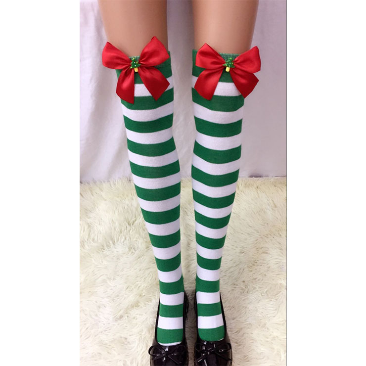 Christmas Green-white Strips Red Bowknot with Christmas Tree Maid Cosplay Stockings HG18543