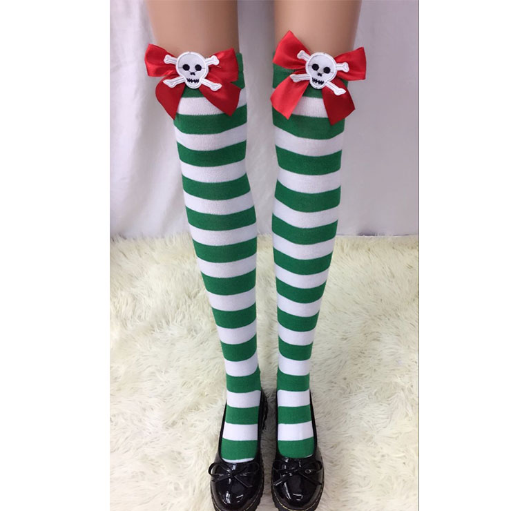 Halloween Green-white Strips Red Bowknot with Skeleton Maid Cosplay Stockings HG18560