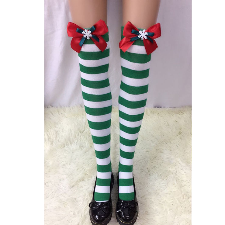 Christmas Green-white Strips Red Bowknot with Snowflake Maid Cosplay Stockings HG18544