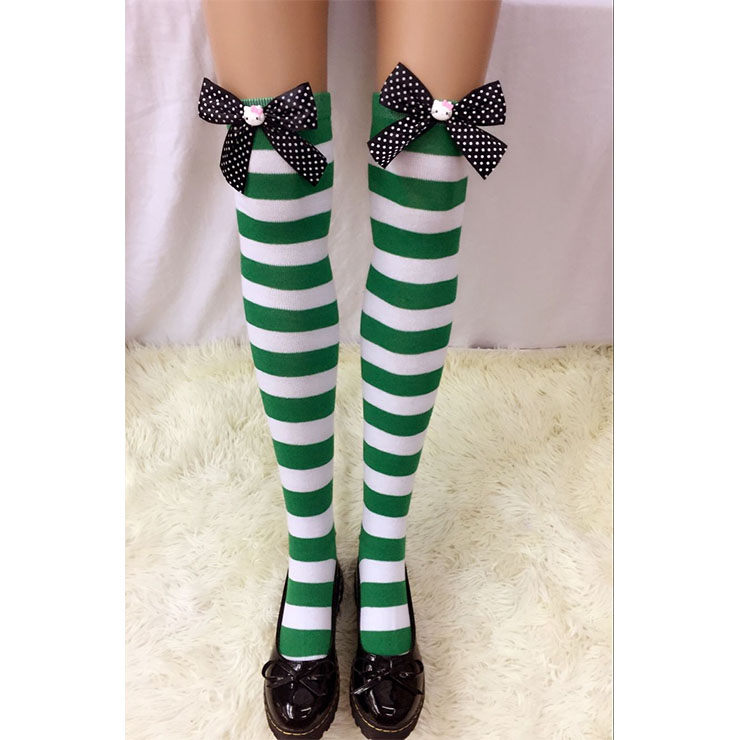 Lovely Green-white Strips Spots Bowknot with Cartton Cat Maid Cosplay Stockings HG18559
