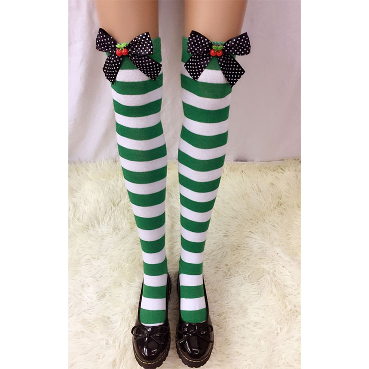 Lovely Green-white Strips Spots Bowknot with Cherry Maid Cosplay Stockings HG18558
