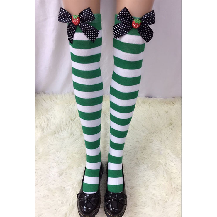 Lovely Green-white Strips Spots Bowknot with Strawberry Maid Cosplay Stockings HG18557