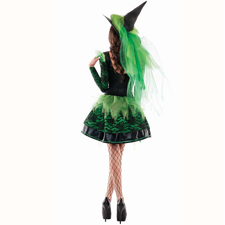 Black Witch Costume Vintage Halloween Party Dress Sexy Green Liquid