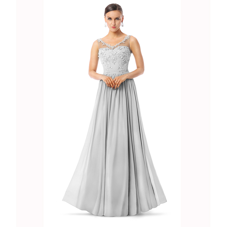 2018 Courtlike Grey A-line V-Neck Sleeveless Appliques Chiffon Long Evening Dresses F30013
