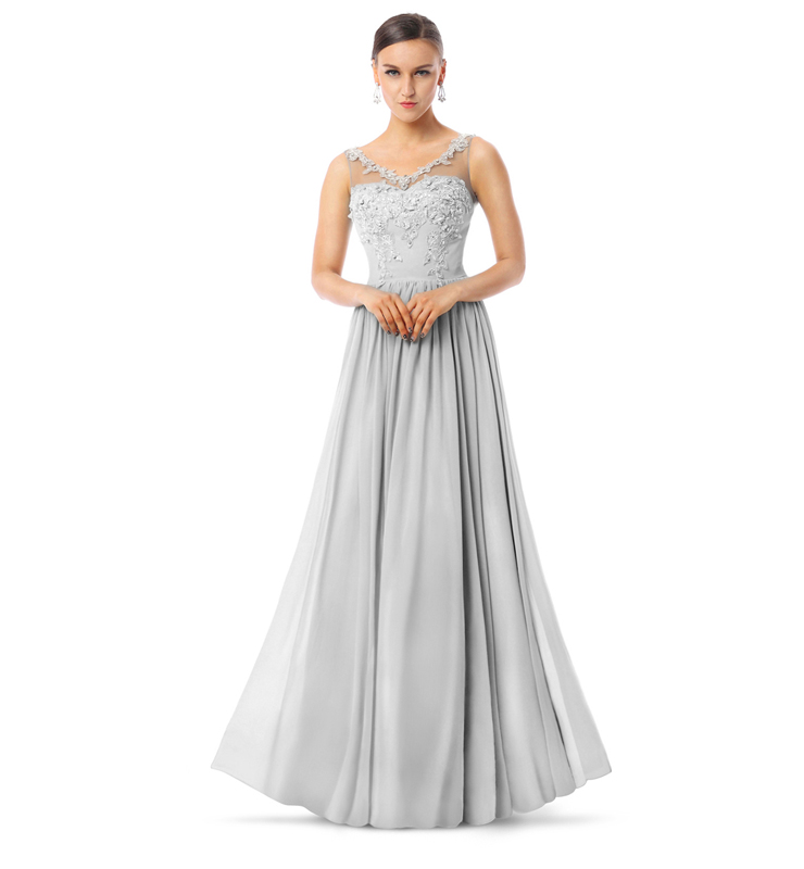 2017 Courtlike Grey A-line V-Neck Sleeveless Appliques Chiffon Long Evening Dresses F30013
