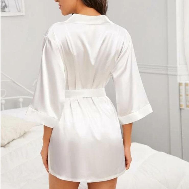 White Satin Robe, Satin Lightweight Sleepwear Robe, Sexy Sleepwear Robe White, Satin Robe Nightgown, Half Sleeve Nightgown for Women, Triangle Bra And Panties Robe Set, #N20697