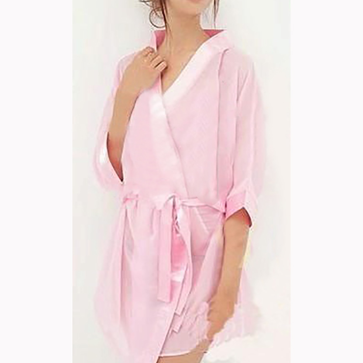 Sexy Pink Half Sleeve See-through Mesh Nightgown Bathrobe with Belt N17463