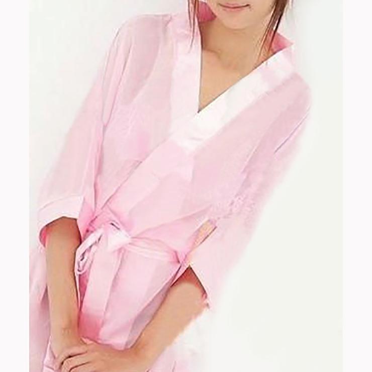 Pink Soft Chiffon Nightgown, Silk Lightweight Sleepwear Robe, Sexy Sleepwear Bathrobe Pink, See-through Mesh Bathrobe Nightgown, Half Sleeve Pink Bathrobe, See-through Chiffon Nightgown for Women, #N17463