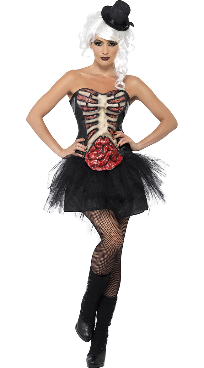 black sexy grotesque burlesque corset grotesque burlesque corset halloween ladies fancy costume burlesque zombie - Corsets Halloween Costumes