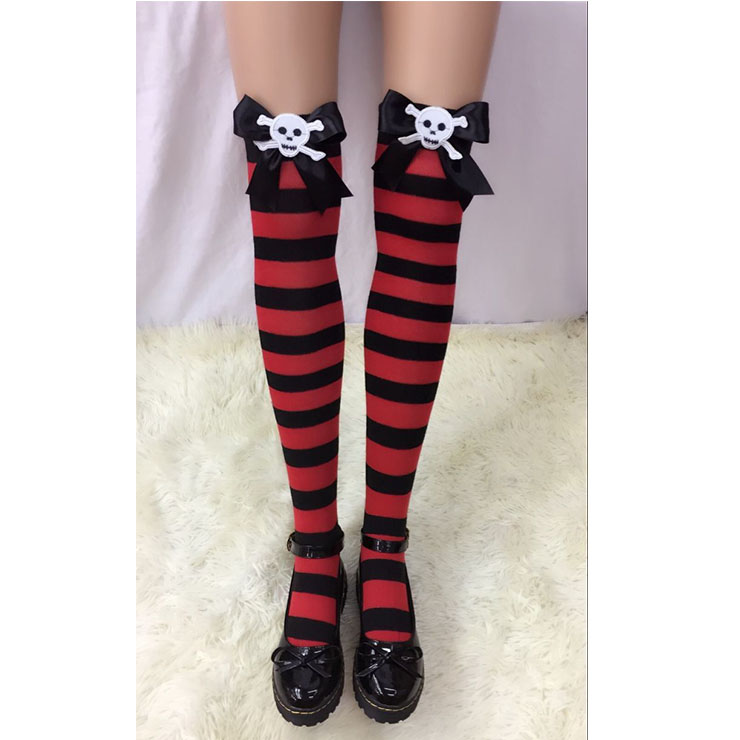 Halloween Red-black Strips Black Bowknot with Skeleton Maid Cosplay Stockings HG18540