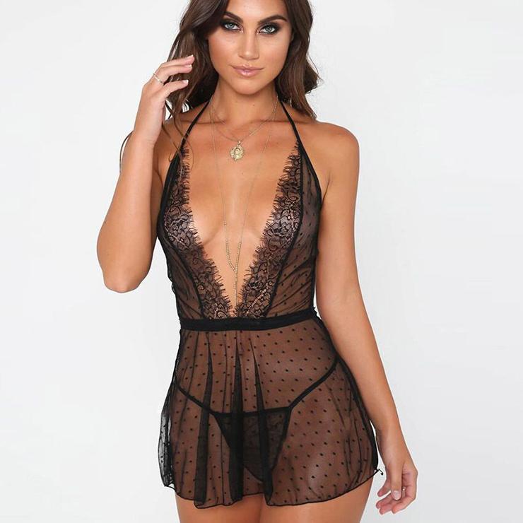 Sexy Black Halter Deep V Neck See-through Mesh Babydoll Nightwear Lingerie N16514