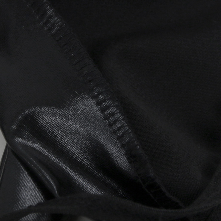 Halter Faux Leather Lingerie Set, Sexy Black Leather Lingerie Set, Cheap Fashion Night Club Lingerie Set, Valentine