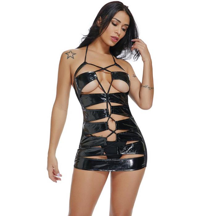 Mini Hollow Out Bodycon Nightclub Dress, Sexy Black Faux Leather Dress, Halter V Neck Bodycon Dress, Sexy Hollow Out Faux Leather Club Dress, Halter Hollow Out Leather Dress, Faux Leather Bandage Mini Bodycon Dress, #N18470