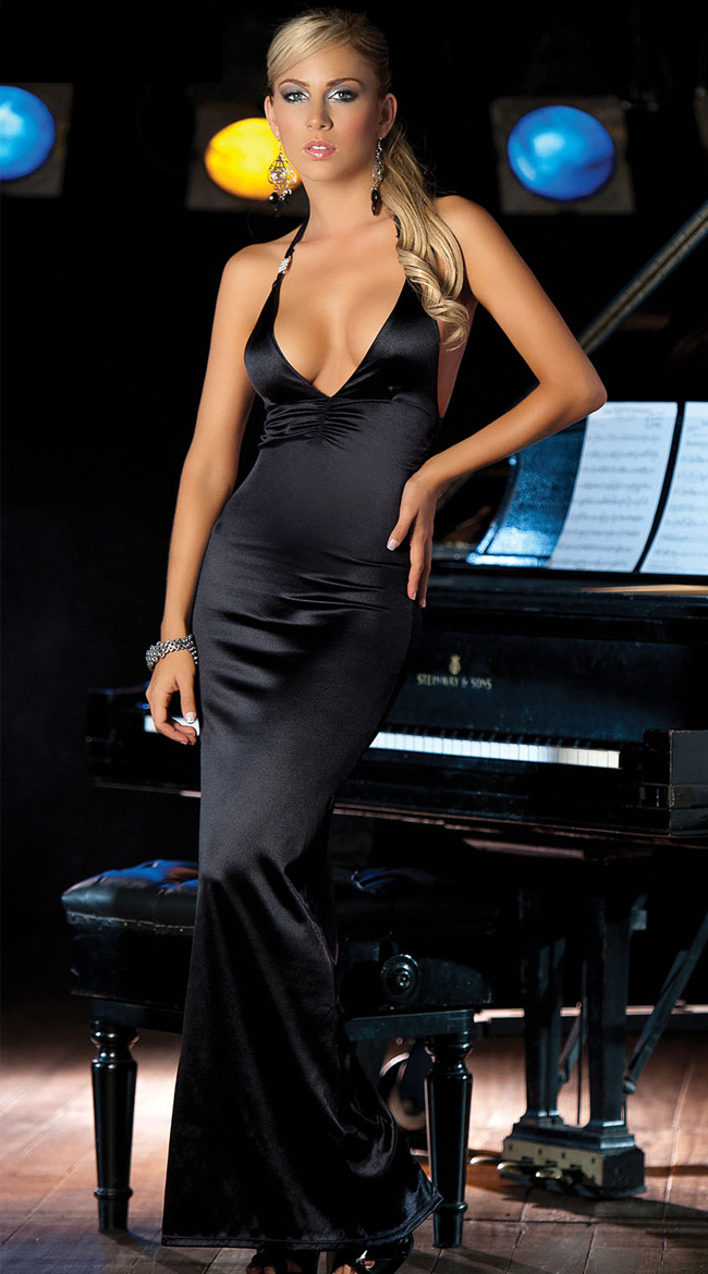 Long V Neck Gown, black Long Gown, Ruched Gown, #N2604