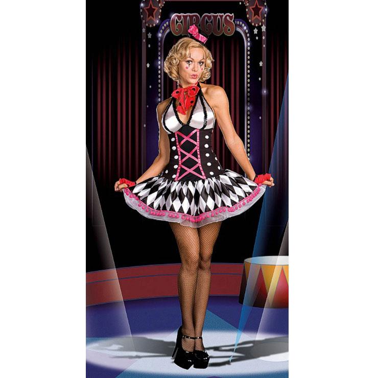 Women's Halter Neckline Harlequin Honey Halloween Club Dress N4250